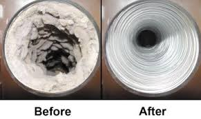Before and after a dryer duct cleaning